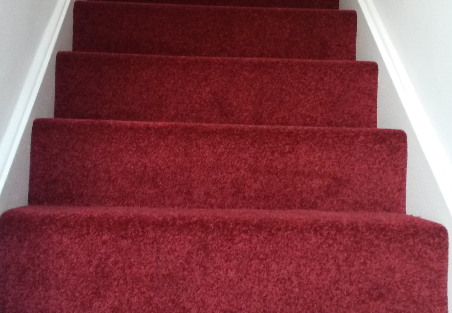 High quality stair carpet pointing up showing the first four runs, installed by Garry Joy